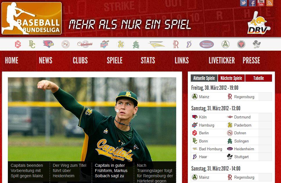 Screenshot BL Webseite Neue exklusive Webseite für 1. Baseball Bundesliga