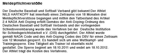 verstoss Bekanntgabe: Sanktionen gemäß der Anti Doping Ordnung des DBV