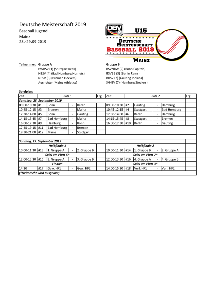Mainz Spielplan
